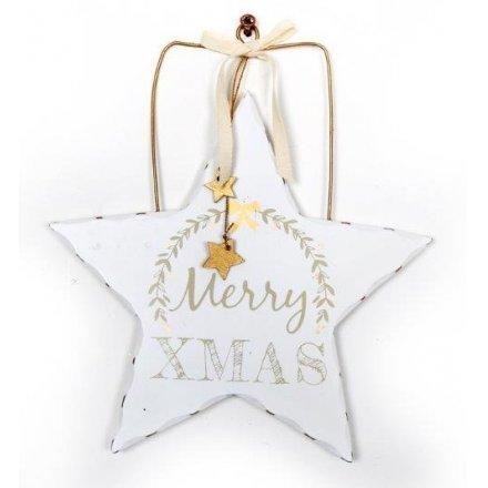 White Xmas Christmas Hanging Wooden Stars 2 Asstd 20cm