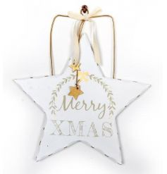 A stylish white and gold wooden star decoration with decorative Merry Christmas text