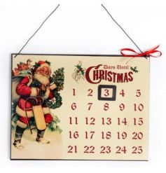 Traditional metal advent calendar with vintage Christmas design