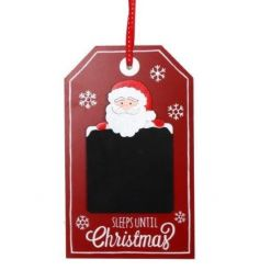 A festive tag style sign with a chalkboard Sleeps Until Christmas countdown.