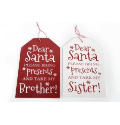 Red and white nordic style tag signs with humorous dear santa quotes.