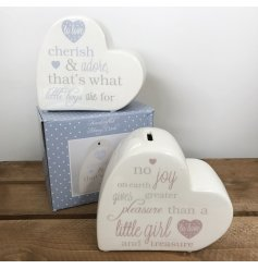 Pink and blue baby poem money boxes in heart shapes