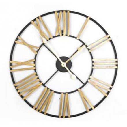 Black & Gold Roman Numeral Clock, 60cm