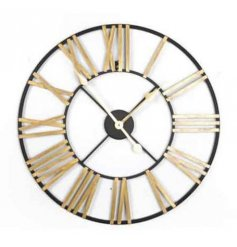 Rustic style roman numeral clock with gold detail