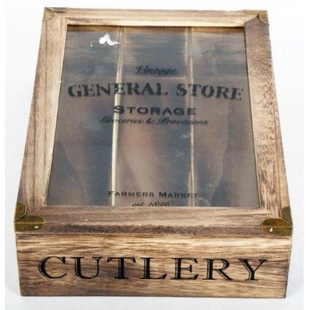 Wooden General Store Cutlery Tray