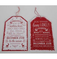 Tag style plaques in traditional festive colours with Christmas script