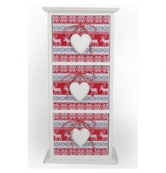 Decorative wooden drawer unit with traditional Christmas design