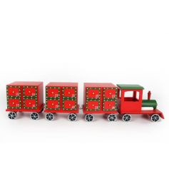 Decorative wooden advent train in traditional red and green festive colours to finish