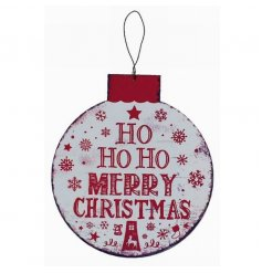 Decorative bauble style metal plaque with traditional Christmas quote