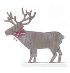 Decorative reindeer ornament in a natural wood design with bell detail