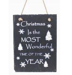 Hanging slate sign with traditional Christmas text