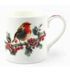 MacNeil Xmas Robin china mug complete with matching gift box