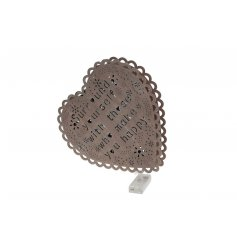 Shabby and chic LED light in a heart shape with popular slogan cutout