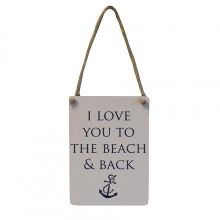 Mini Metal Sign - I Love You Beach & Back