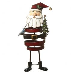 Colourful and quirky metal Santa ornament with twist design