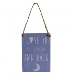A shabby chic hanging dangler sign with popular quote