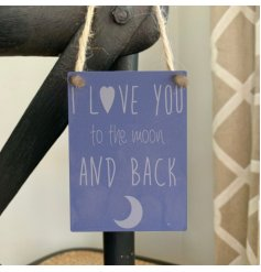 Popular quote on a hanging metal dangler sign with rustic rope hanger