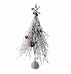 A chic natural twig and white twig tree with pinecones and a touch of sparkle.