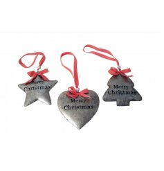 Stylish grey tin decorations in star, heart and tree designs with red ribbon.