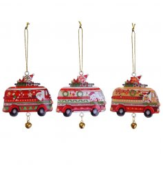 3 assorted colourful Christmas camper van decorations with gold bell detail.