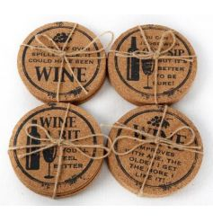 Rustic style cork coasters in a set of 4, 4 assorted designs