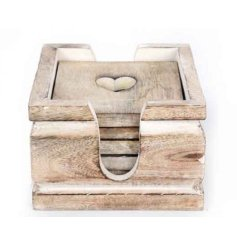 Rustic wooden coasters with heart cutout in a set of 6
