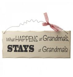 Decorative wooden sign with humorous Grandma script
