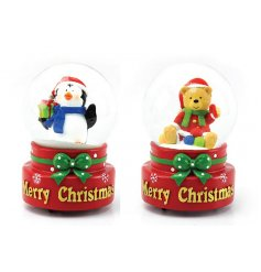 An assortment of two musical waterballs with festive characters inside