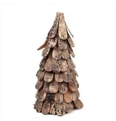 A rustic tree decoration make from birch and bark. A unique decoration for that woodland look.