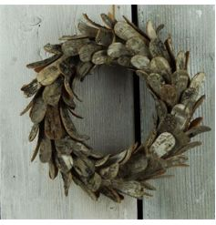 Decorative Christmas wreath in a birch bark design