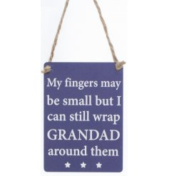 My fingers may be small but I can still wrap Grandad around them.