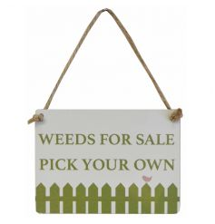 A chic mini metal garden sign with rustic jute string to hang.