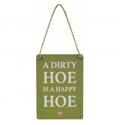 A mini metal sign with rustic jute string to hang and a humorous garden slogan.