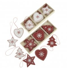 Red & white wooden tree decorations in festive shapes