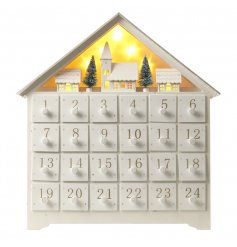 Festive wooden advent with light up winter scene