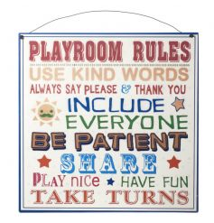 Hanging metal sign with colourful Playroom Rules text