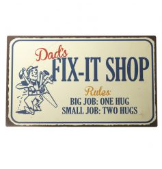 Retro style metal sign with Dads Fix It text