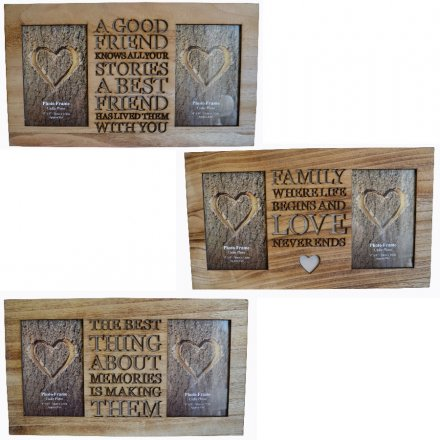 Decorative Wooden Frames With Cutout Text And Heart Detail
