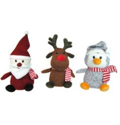 Three assorted knitted soft toys with festive scarves
