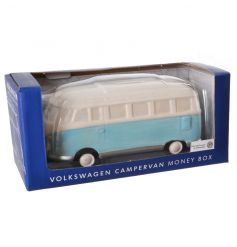 Chic camper van money box in a pastel blue colour