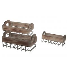 Set of three wooden and metal trays for use in the home.