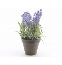 A pretty purple artificial lavender plant in a pot