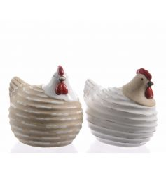 Natural and white ceramic chickens with stripes and glazed detailing.