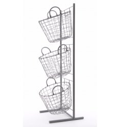 Simple iron stand with three baskets to fill