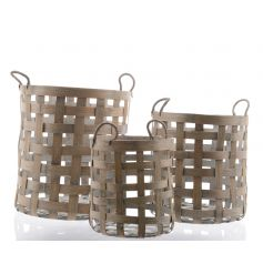 Set of three bamboo baskets with rope handles