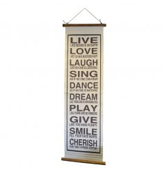 A large and colourful cotton wall hanging with a live, love and laugh sentiment.