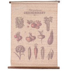 A rustic cotton wall hanging with vintage style grocery images. Ideal for a kitchen and home decor!