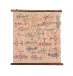 A charming antique style cotton wall hanging with colourful airplane designs.