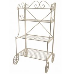 A chic off-white coloured iron plant stand with 3 shelves. Ideal for multi display use.