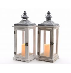 White and natural wooden lanterns with LED candles included.
